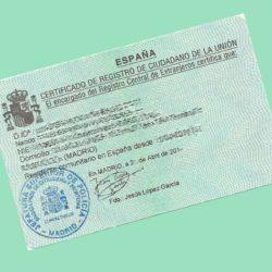 Certificado de registro de ciudadano de la Unión - NacionalidadYA.com