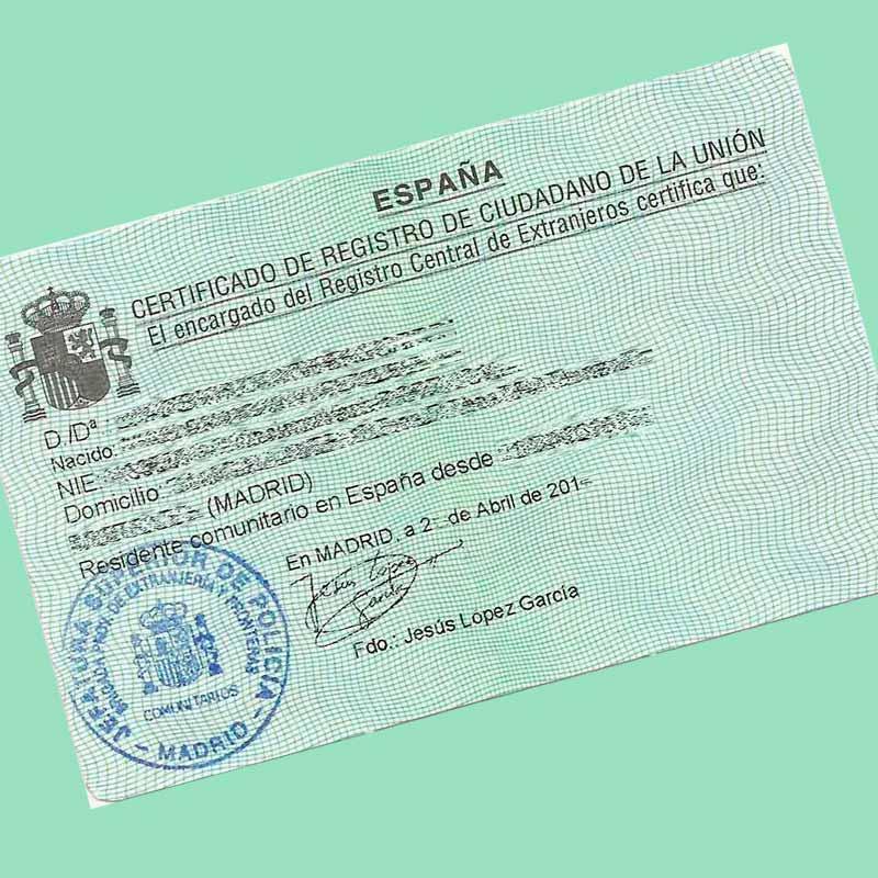 Cómo obtener el Cerficado de Registro de ciudadano de la Unión en ...